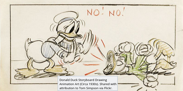 Disney Donald Duck drawing with caption
