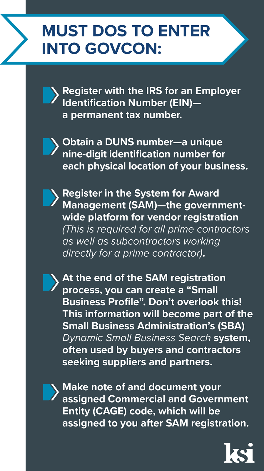 A list of GovCon Must Dos